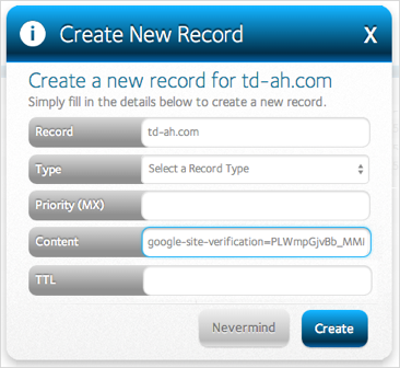 Create New Record form