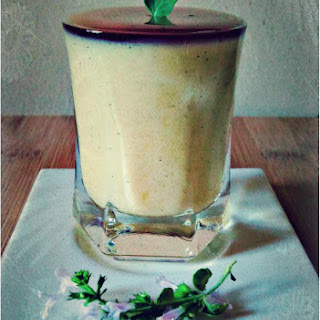 Mango Panna Cotta with Violet Honey Jelly