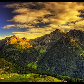 on Strada Statale N.44 III by Petr Klingr - Landscapes Mountains & Hills ( hdr     alps     mountains     clouds     sun, sunset )