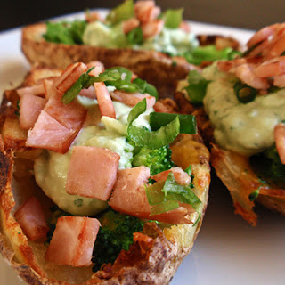 Broccoli and Cheddar Potato Skins with Avocado Cream