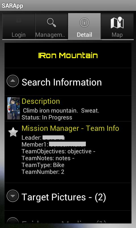 Search and Rescue Application- screenshot