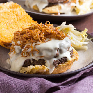 Mornay and Mushroom Duxelles Burger With Crispy Shallots