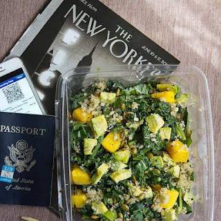 Airplane Salad with Greens, Grains, and Seeds.