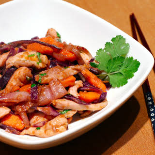 Chicken Stir-fry with Yams, Red Cabbage, and Hoisin.