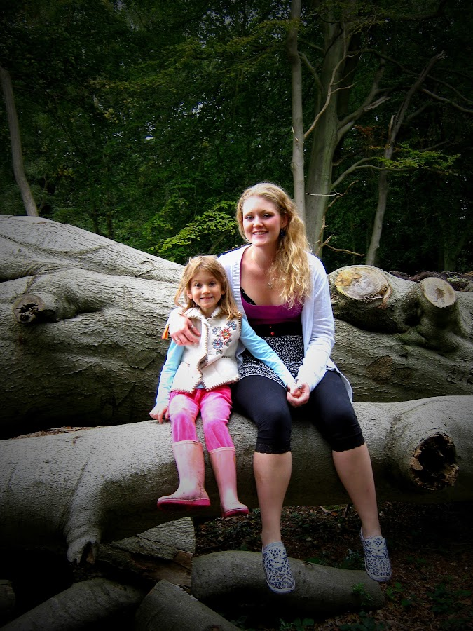 Family Outing 2 by Tamsin Carlisle - People Family ( england, outing, affection, logs, family, company, trees, forest, fun, beech, country,  )