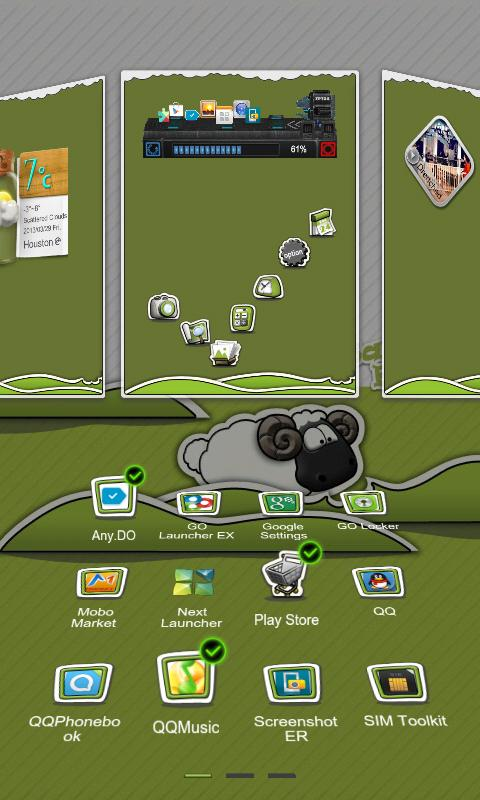 Next Launcher Theme P.Sheep- screenshot