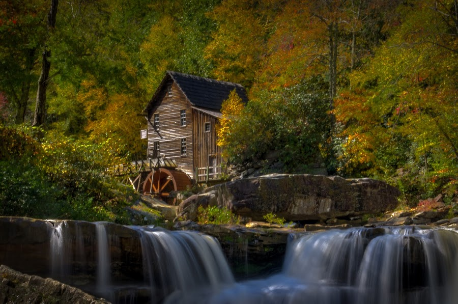 My Golden October by Randell Whitworth - Buildings & Architecture Public & Historical ( park, west virginia, colors, fall, state, 5100, october, babcock, nikon, relax, tranquil, relaxing, tranquility )