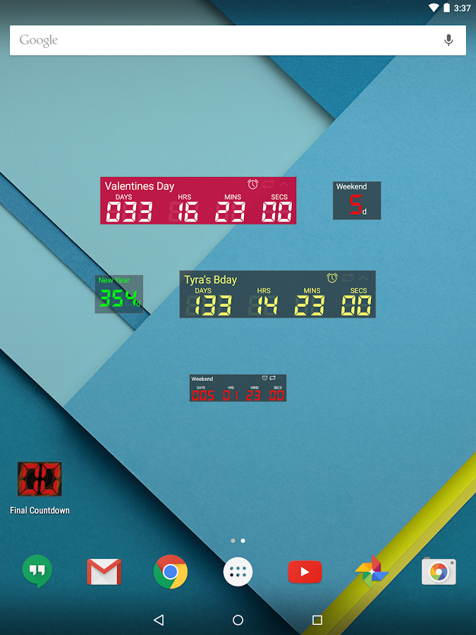 Final Countdown - Widget- screenshot