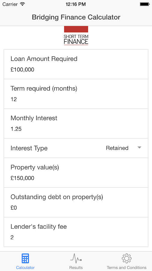 SPF Bridging Loan Calculator- screenshot
