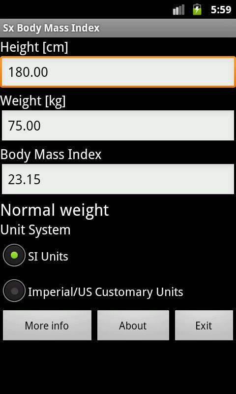 Body Mass Index- screenshot