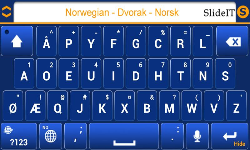 SlideIT Norwegian Dvorak Pack - screenshot