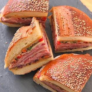 Classic New Orleans Muffuletta Sandwich.