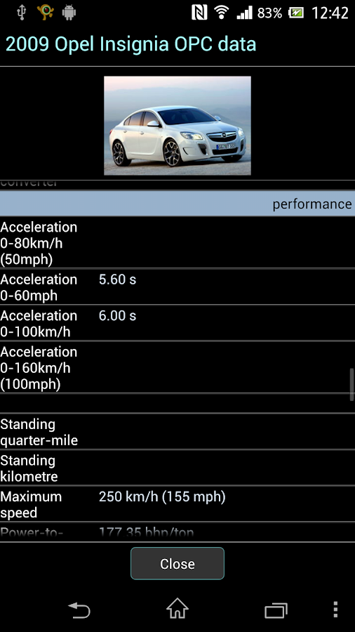 Car Specifications- screenshot