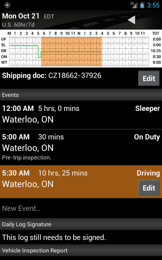 BigRoad Free Trucker Log Books - screenshot