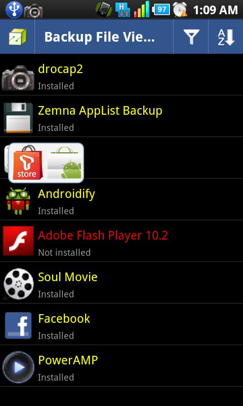 Zemna AppList Backup - screenshot