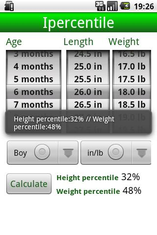 Percentile Growth Charts - screenshot
