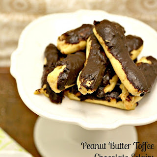 Peanut Butter Toffee Chocolate Eclairs