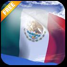 3D bandera de México Fondo animado icon