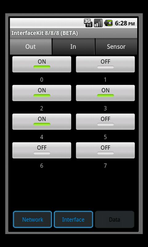Android Phidgets - screenshot