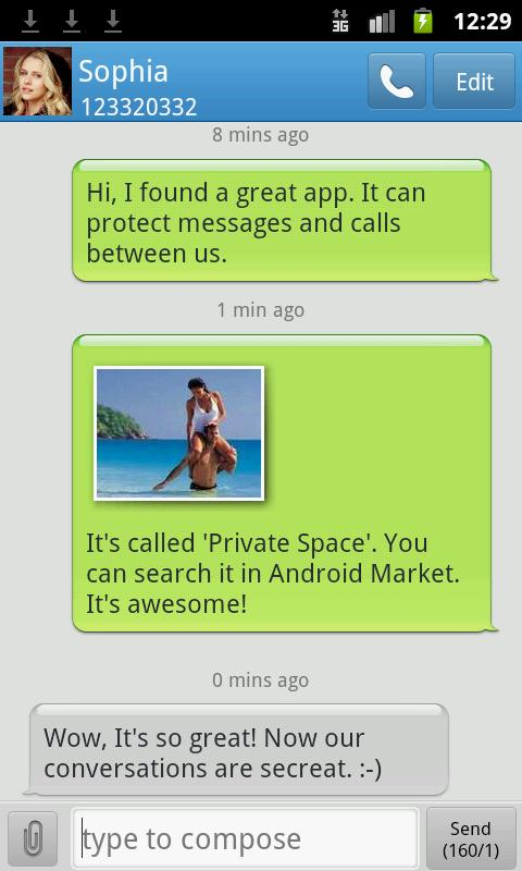 Hide SMS & Call -Private Text - screenshot