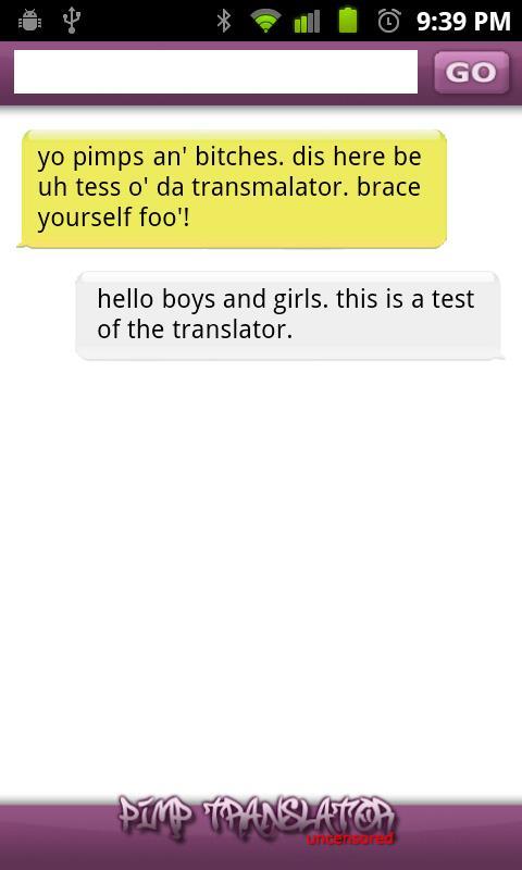 Pimp Translator FREE- screenshot