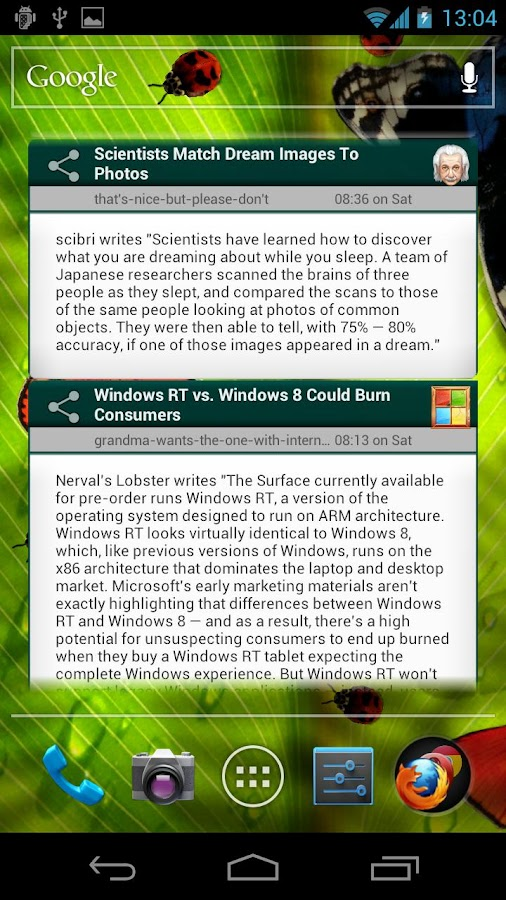 Slashdot Reader Widget- screenshot