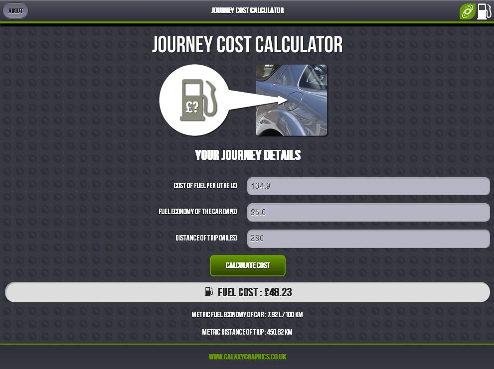 Journey Cost Calculator- screenshot