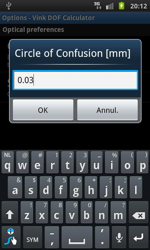 Vink DOF Calculator - screenshot