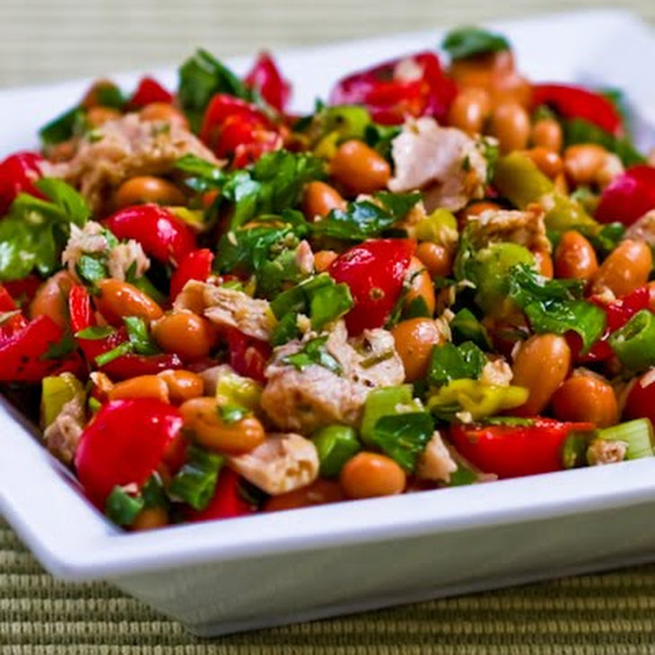 Spicy Pinto Bean and Tuna Salad with Peperoncini, Tomatoes, and Parsley Recipe