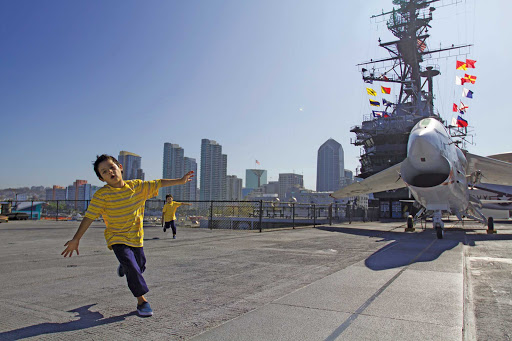 San-Diego-USS-Midway - Kids on the USS Midway flight deck in San Diego Harbor.