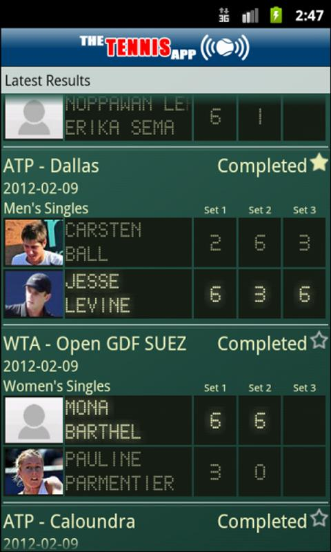 The Tennis App - screenshot