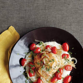 Chicken with Parmesan Grits and Tomatoes.