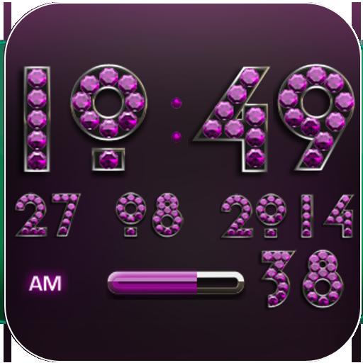 Digi Clock Widget Pink Diamond