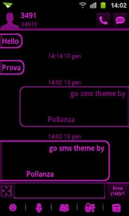 GO SMS Pink Black Neon Theme - screenshot thumbnail