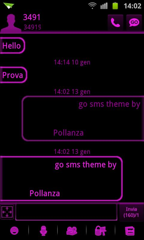 GO SMS Pink Black Neon Theme - screenshot