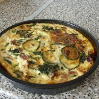 Spinach, Courgette and Leek Quiche.