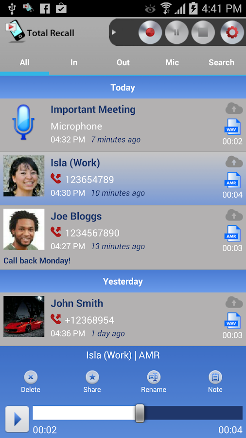 Call Recorder Galaxy S8- screenshot