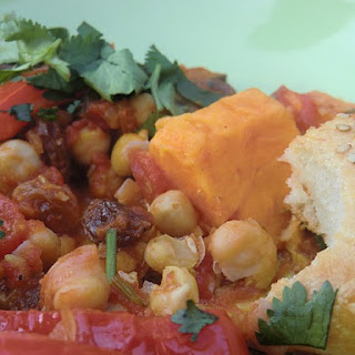 Moroccan Tajine with Sweet Potato, Chickpeas and Eggplant.