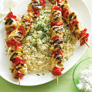 Yogurt-marinated Chicken Kebabs with Israeli Couscous.