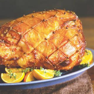 Baked Ham with a Brown Sugar, Rum and Cayenne Glaze.
