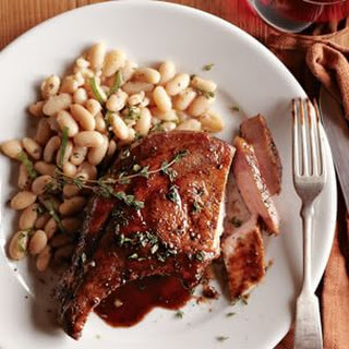 Pork Chops Agrodolce with Herbed Bean Salad