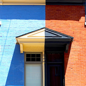 Opposites Attract by Ronnie Caplan - Buildings & Architecture Homes ( doors, reverse, patterns, balconies, buildings, windows, homes, shadows, colours, , Urban, City, Lifestyle, vertical lines, pwc )