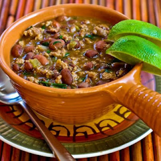 Ground Turkey and Bean Stew with Cumin, Green Chiles, and Cilantro.