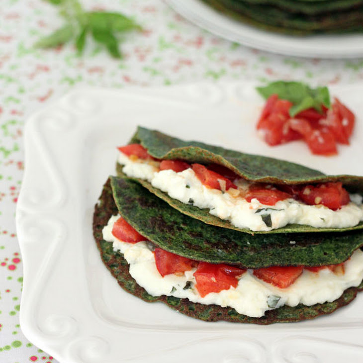 Spinach Crepes with Ricotta, Tomatoes and Basil Recipe