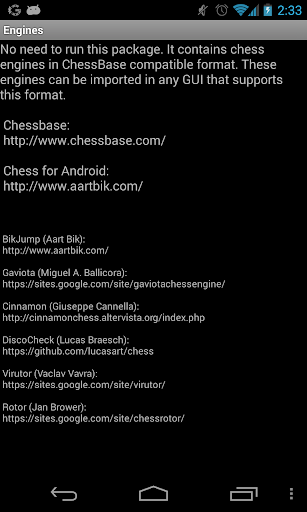 Chess Engines Package by Aart Bik (Google Play, United States