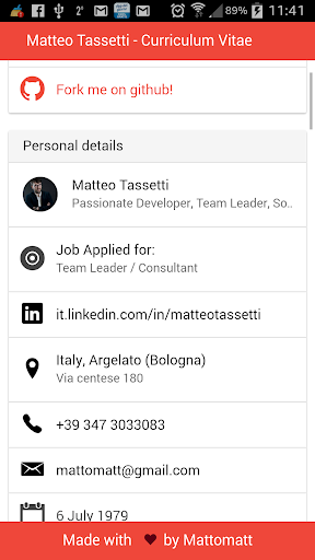Matteo Tassetti cv Ionic Demo