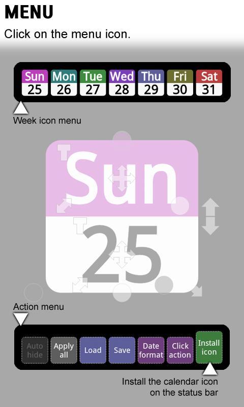 Status bar Calendar Demo - screenshot