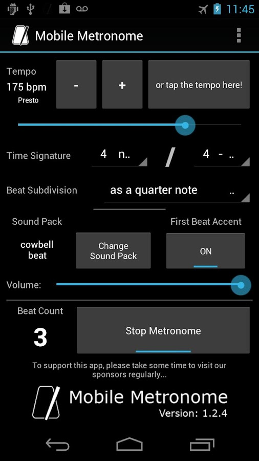 Mobile Metronome - screenshot