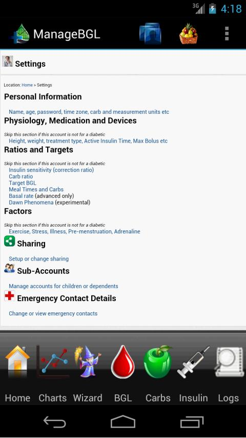 ManageBGL Diabetes Manager - screenshot