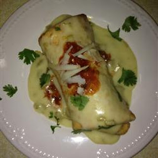 Chicken Chimichangas with Sour Cream Sauce.